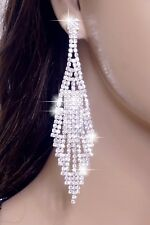 "#E121T 4"" LONG CLIP ON Earrings Clear Crystal Chandelier Drop Bridal Silver Tone"
