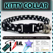 Safety  CAT KITTEN  Breakaway Collar ~ Tiny Hearts on Black ~