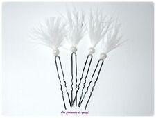 4 pics à cheveux perles blanches/plumes,mariage/soirée