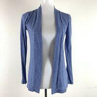 J. Crew Womens Striped Open Front Cardigan Sweater Size XS Blue White