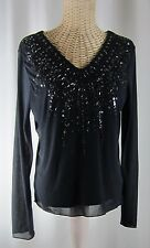 J. Jill Black Stretch Long Sleeve Sequin Beaded V-Neck Knit Shirt Top Small S