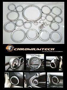 MK2 MINI Cooper R55 R56 R57 R58 R59 Chrome Interior Dial Dashboard Trim Kit 27pc