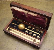 Antique c19th Sikes Hydrometer, Cased & Weights, 33 Hatton Garden London