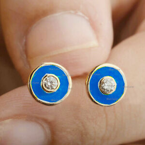 Lapis Enamel With Solitaire Natural Diamond Bezel Set Studs In Solid 14k Gold