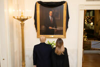 President Donald Trump and Melania with portrait of George H.W. Bush Photo Print