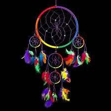 "Handmade Dream Catcher Traditional Rainbow w/ Feathers 8.5"" Diameter & 24"" Long!"