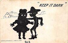 B60/ Bridgeport Illinois Il Postcard 1908 Keep It Dark Sillouette Wells Signed