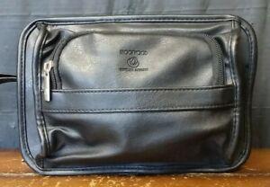 VTG Brookwood Black Leather Travel Bag Toiletries Bag Multi Pocket Carry On Bag