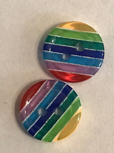 Rainbow Buttons 12mm Pack Of 12