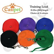 """More details for dog pet puppy training lead leash 50ft 15m long obedience recall 1"""" wide easipet"""