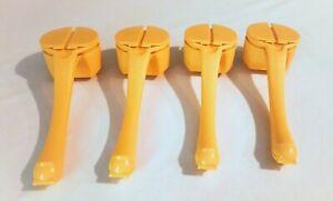 4 Tupperware Yellow Butter Hugger w/ Salt & Pepper Shaker For Corn FREE S & H