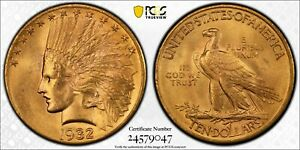 1932 GOLD UNITED STATES $10 INDIAN HEAD EAGLE COIN PCGS MINT STATE 64