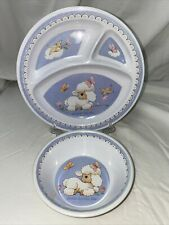 vintage Enesco Ruth J Morehead melamine divided plate & bowl Jesus Loves Me lamb