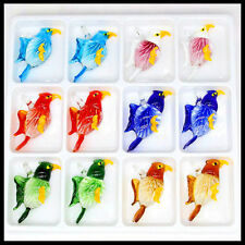 12 Pcs Women's bird lampwork Murano art glass beaded pendant necklace