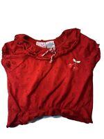 Jitter Bugs Girls Sz 6 Blouse Kids  Red Short Sleeve Elastic Bottom Cherry Bow