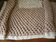 Vintage Hand Crochet Afghan Throw blanket 50x50  beige cream