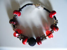 Beaded  925  Love  Charm   Bracelets  Black  Leather  Cord  With Red Black Beads