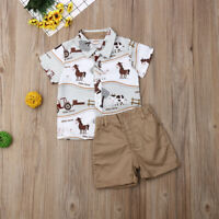 Toddler Kids Baby Boy Clothes Boys Outfits Sets Short T-Shirt Tops + Pants