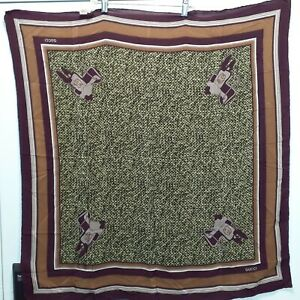 """Gucci Vintage Silk Scarf Made in Italy Hand-rolled Hem Western Saddle 32"""" Square"""