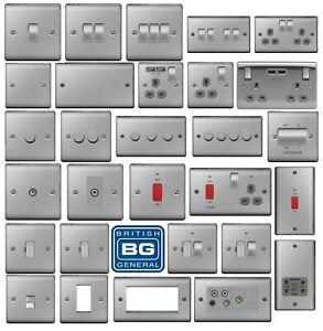 BG Brushed Steel Light Switches & Sockets Full Range Satin Chrome Grey Inserts