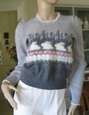 K & J ASHLEY Gray Hand Knit 100% Wool / Angora Ski Sweater With Rabbits Size S
