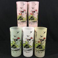 Set of 5 Vtg Ice Tea Glasses Libbey Anchor Hocking Southern Belle Frosted Barwar