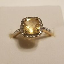 Citrine Halo Diamond Gemstone Sterling Gold Plate Engagement Birthstone Ring 7