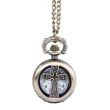 Antique Bronze Crucifix Cross Hollow Chain Quartz Pendant Fob Pocket Watch Gifts