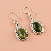 925 Sterling Silver Earrings, Natural Gemstone Turquoise Handmade Jewelry 6.8 gm
