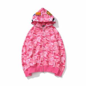 Long Sleeve Jacket Bape Bathing Ape Hoodie SHARK Head Camo Full Zip Coat New