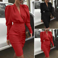 Women Long Sleeve V Neck Sexy Party Formal Dresses Bodycon Knee Length Dress New