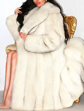 Spectaculaire Pleine Longueur Bleu Blanc Shadow Saga Real Fox Fur Coat Jacket L XL