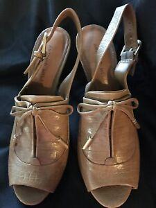 Stylish Antonio Melani Brown Oxford Leather Women's Shoe Heel  Sz 8 Peep Toe