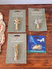 Lot 4 Finials, Angel, Glass Ball, Fluer de Lis, Acorn, Lamp Parts, NOS, Vintage