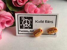 Resin Hot Dog on Bun Mustard Food Barbque Picnic Fun Stud Earrings