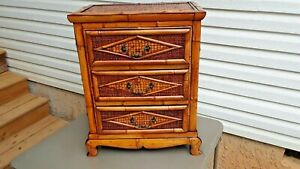 ORIGINAL HAND CRAFTED BAMBOO STYLE 3 DRAWER NIGHT STAND