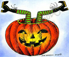 Halloween Witch Legs Pumpkin Wood Mounted Rubber Stamp NORTHWOODS M9150 New