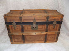 Antique German French Doll Trunk Wood