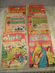 Lot of 6 Mixed Vintage 1970s Comics: Archie, Richie Rich, Young Romance, Vicki
