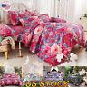 4 Pcs Floral Duvet Quilt Cover Bedding Set Flat Fitted Sheet Pillowcase Bedding