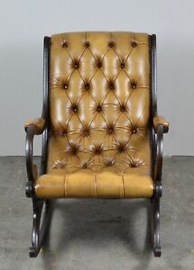 RUB OFF ANTIQUE TAN LETHER CHESTERFIELD YORK SLIPPER ROCKING CHAIR
