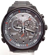 Citizen Eco-Drive Nighthawk Chronograph Black Plated Men's Watch AT4117-56H