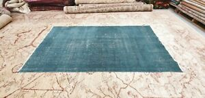 Antique 1930-1940's Distressed Wool Pile Natural Dye Oushak Area Rug 3'7''x6'10""