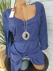 Sheego chemise blouse tunique gr. 44/46 bis 48/50 bleu avec dentelle (654) NEUF
