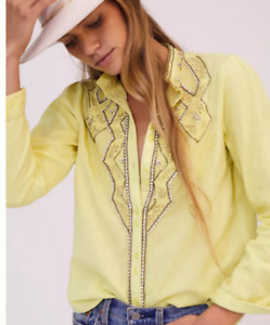 ANTHROPOLOGIE New~Rare~ Cowgirl Up Bright Rhinestone Blouse Chartreuse Medium