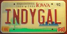1992 IOWA VANITY PERSONALIZED LICENSE PLATE INDY GAL INDIANA GIRL INDIANAPOLIS