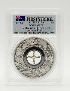 Australia 2019 - 100th Anniv. First Flight - 2 oz Silver Coin - PCGS MS70