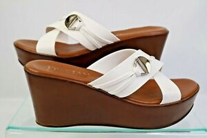 Italian Shoemakers Sandals Wedge Heel Shoes White Size 9 1/2