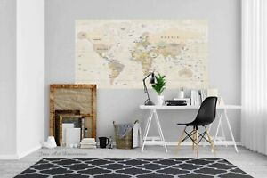World Map Self-adhesive Vinyl Removable Poster Prints Sticker Wall Mural 49