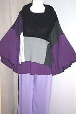 "maT. Colour Block Batwing Jumper 60+""Bust Plus Size Stretch Knit Purple Grey"